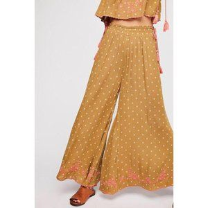 Free People Hearts Rising Embroidery Wide Leg Pant